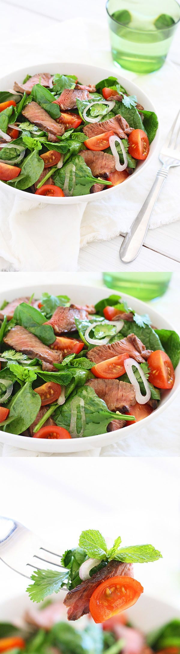 Thai Beef Salad is a tasty salad with beef and greens in a savory dressing. Easy Thai beef salad recipe that everyone can make at home.   rasamalaysia.com