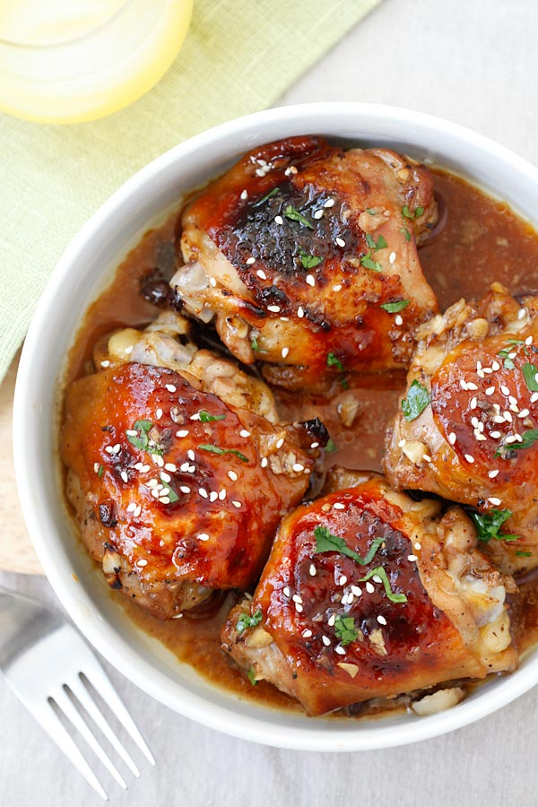 Baked Honey Soy Chicken - moist, tender and juicy chicken thighs marinated with honey, soy sauce, ginger, garlic and baked in oven. Easy dinner for the family! | rasamalaysia.com