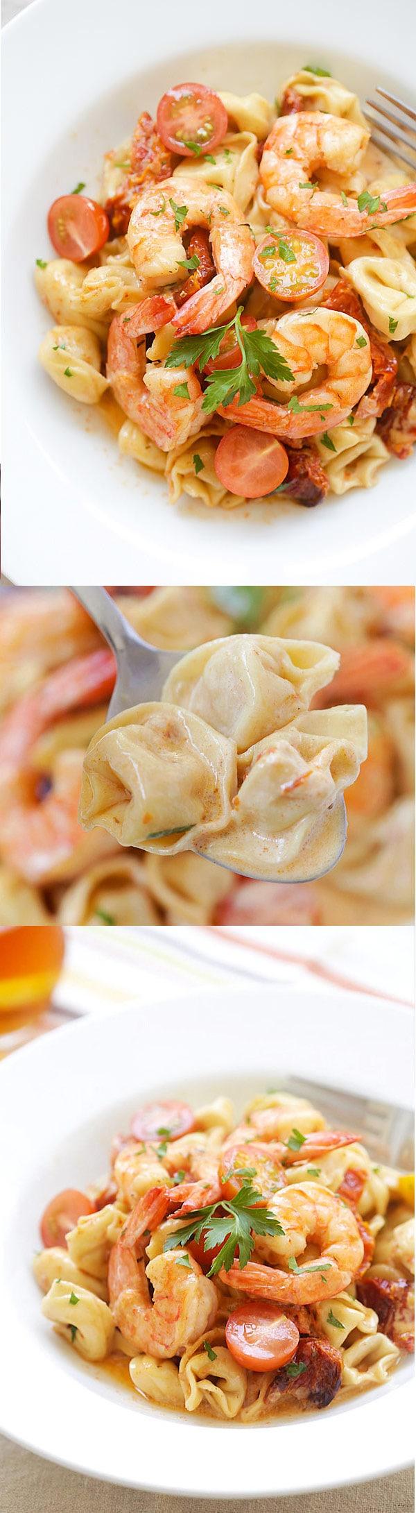 Amazing recipe for homemade Shrimp & Sun-Dried Tomato Tortellini. Budget-friendly and tastes better than any Italian restaurant's! | rasamalaysia.com