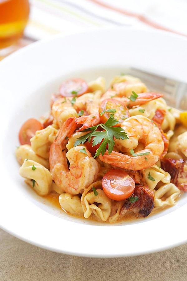 Delicious Italian creamy shrimp & sun-dried tomato tortellini, ready to serve.