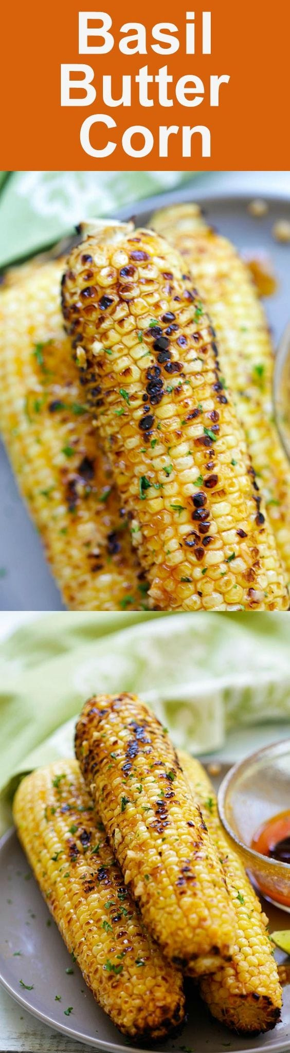 Basil Butter Corn - sweet and juicy corn slathered with homemade basil butter and roasted in the oven. Corns have never tasted SO good | rasamalaysia.com