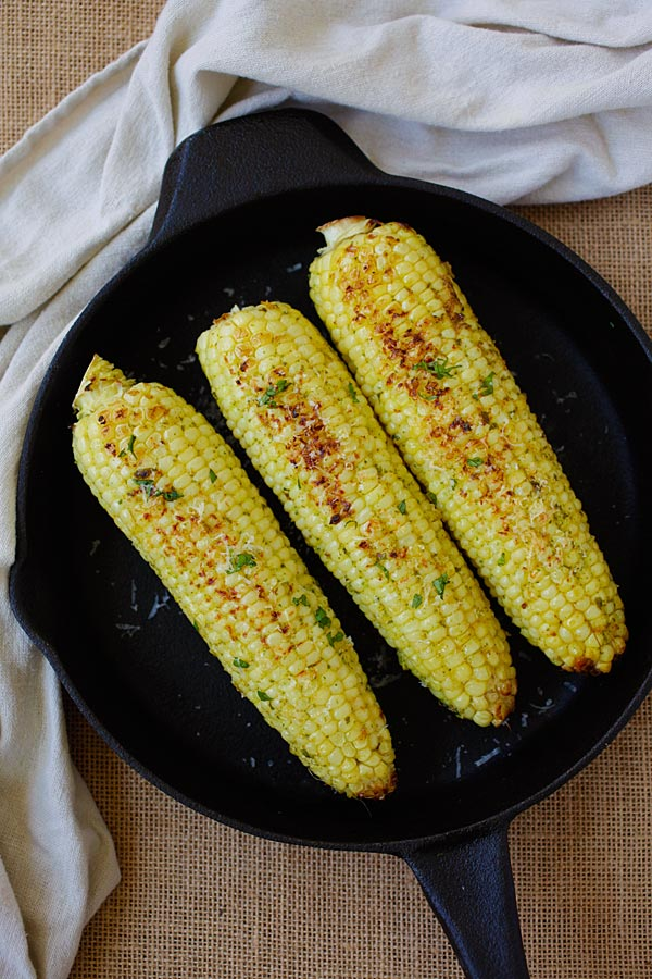 Basil Butter Corn - fresh corns with basil butter and topped with ...