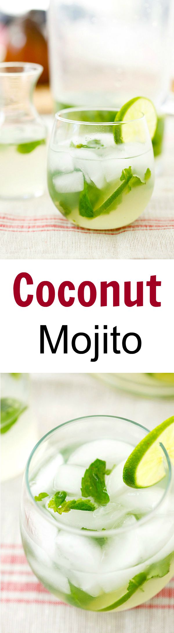 Coconut Mojito - Add tropical flavor to your regular mojito with this easy, healthy and refreshing coconut mojito recipe that takes only 10 mins to make! | rasamalaysia.com