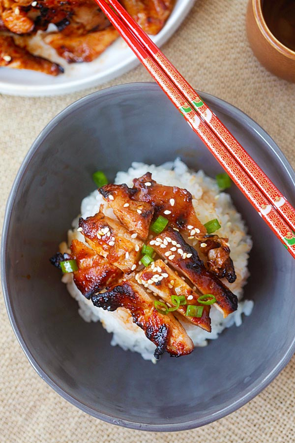 Korean Chicken marinated with spicy Korean marinade in a bowl.
