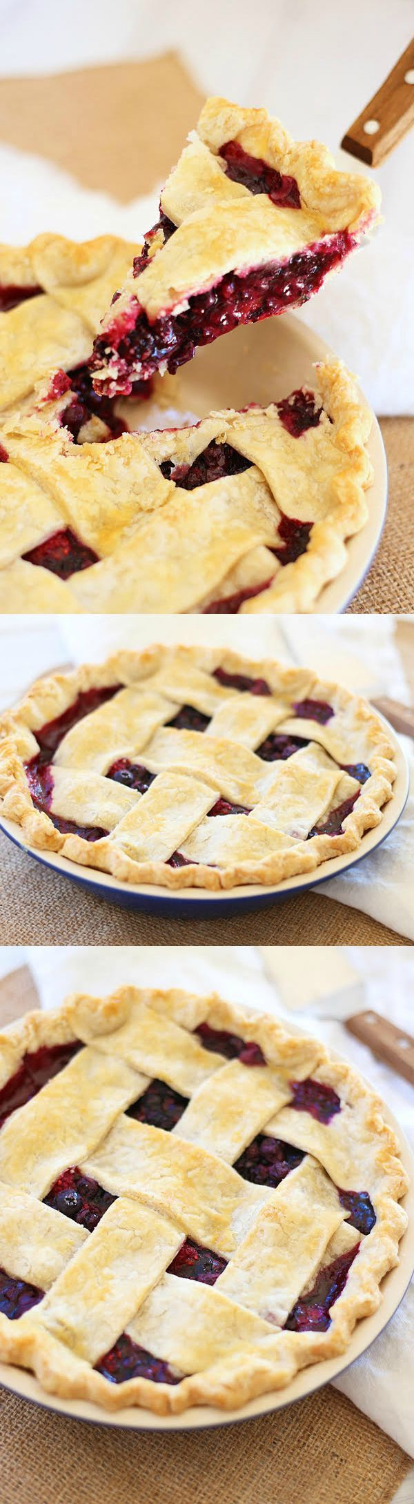 Triple Berry Pie - flaky and crumbly pie with sweet and delicious triple berry filling. This recipe is easy, fail proof and amazing! | rasamalaysia.com