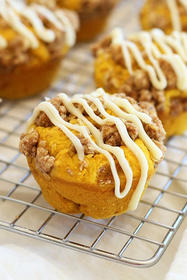 Pumpkin Doughnut Muffins – amazing muffins topped with cream cheese ...