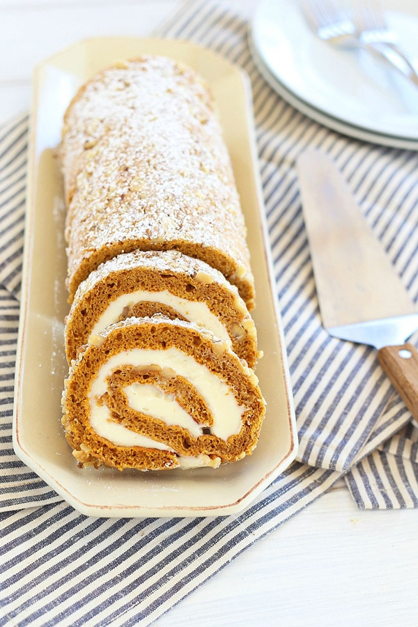 Pumpkin Roll - topped with walnuts with sweet cream cheese filling ...