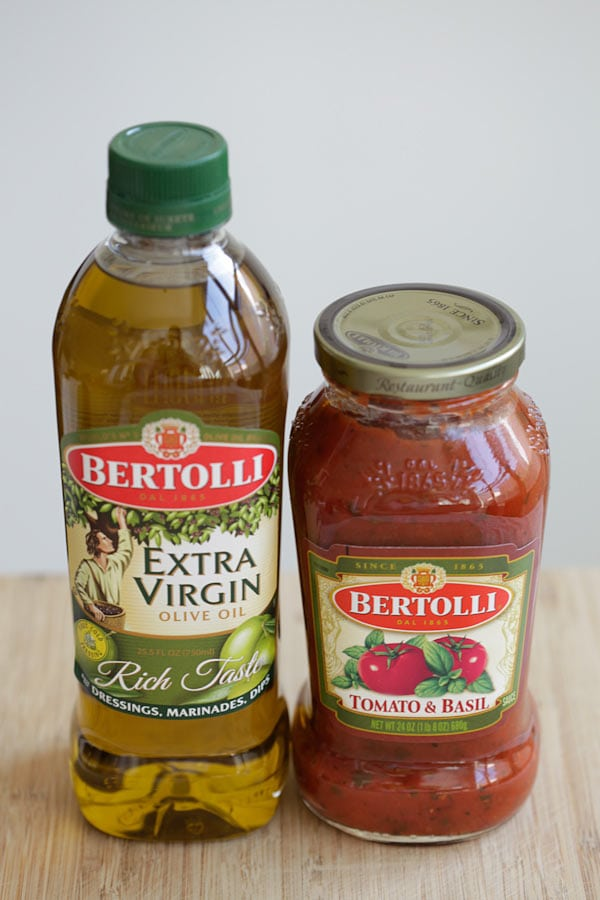 Extra Virgin olive oil and Bertolli tomato pasta sauce.