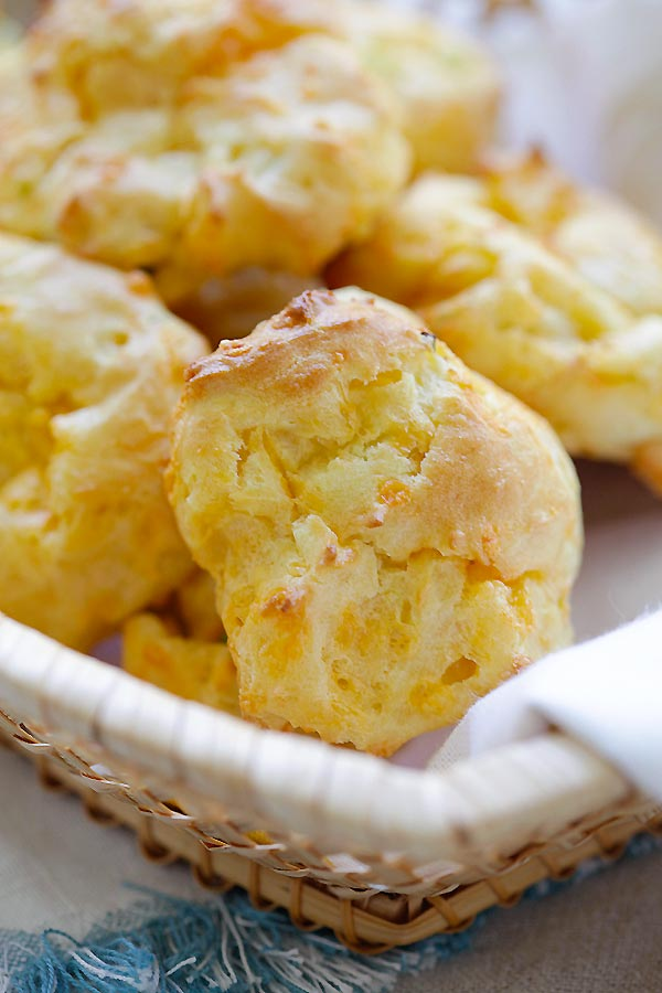 Easy homemade French choux pastry loaded with cheddar cheese and chopped scallions.