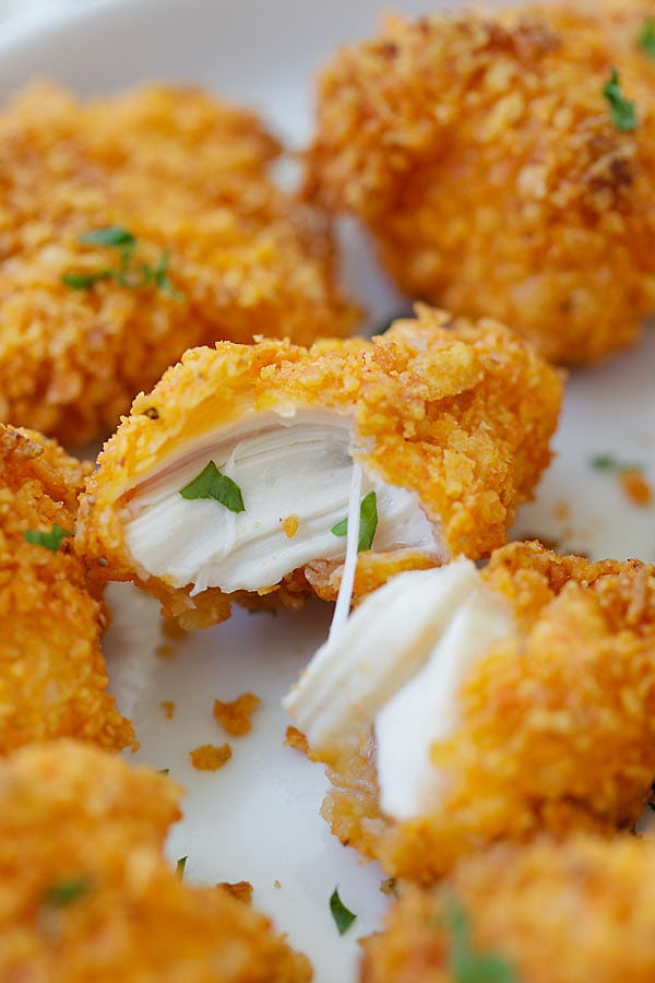 Tortilla Chip-crusted Chicken Bites - coated with crispy tortilla chips and baked to perfection. 10 minutes active time and dinner is ready! | rasamalaysia.com