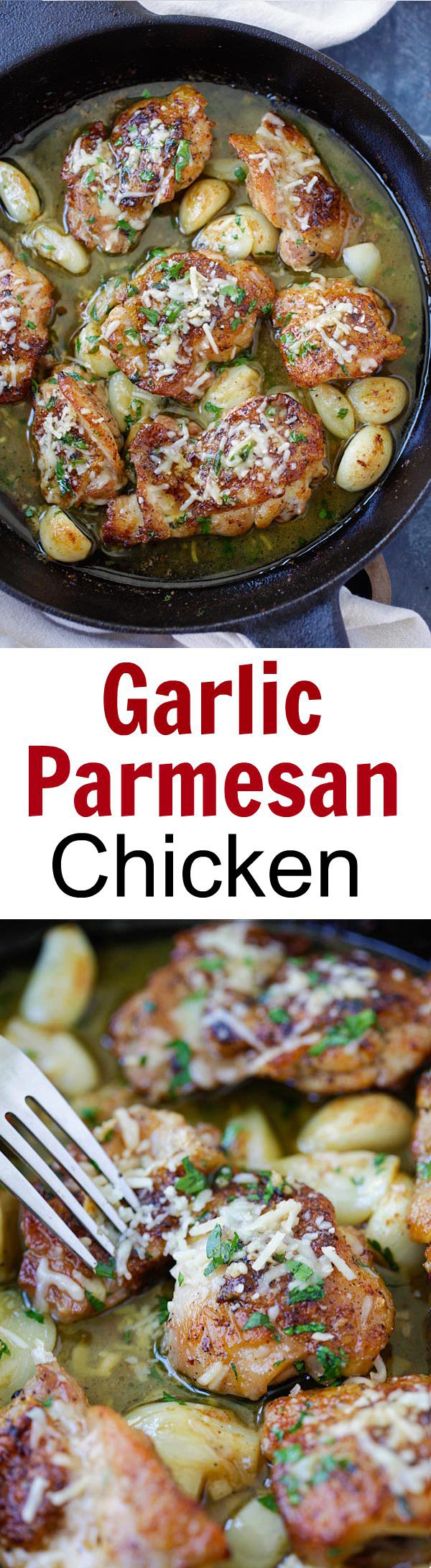 Buttery Garlic Parmesan Chicken – amazing skillet chicken with garlic and Parmesan cheese. Made with simple ingredients but SO good! | rasamalaysia.com