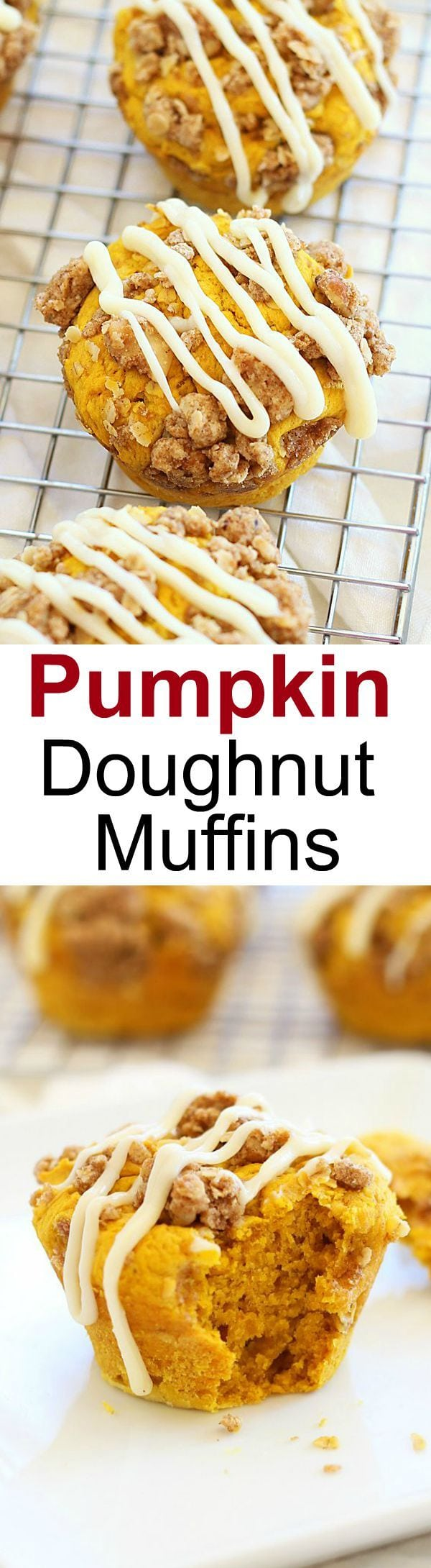 Pumpkin Doughnut Muffins – amazing muffins topped with cream cheese icing over a sweetened crumble. Easy recipe and fail-proof recipe!   rasamalaysia.com