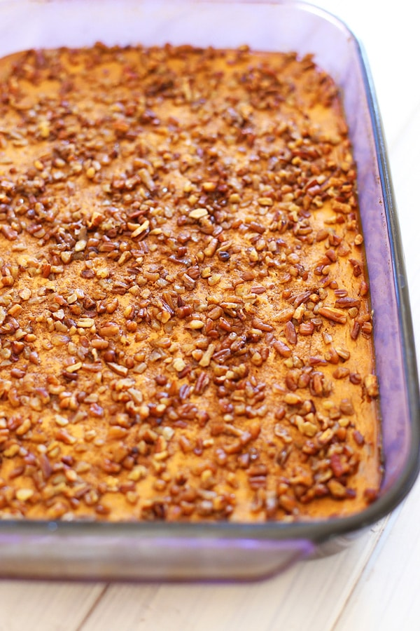 Easy homemade sweet, nutty, crumbly pumpkin pie dessert topped with toasted pecans.