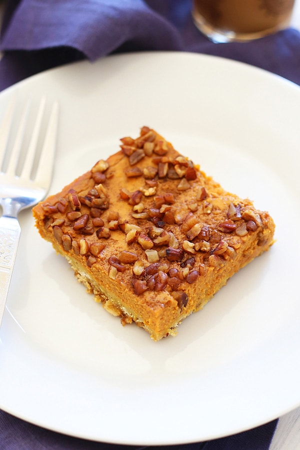 Pumpkin Pecan pie squares topped with loads of toasted pecan nuts.