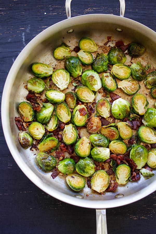 Top down view of roasted Garlic-Prosciutto Brussels Sprouts.