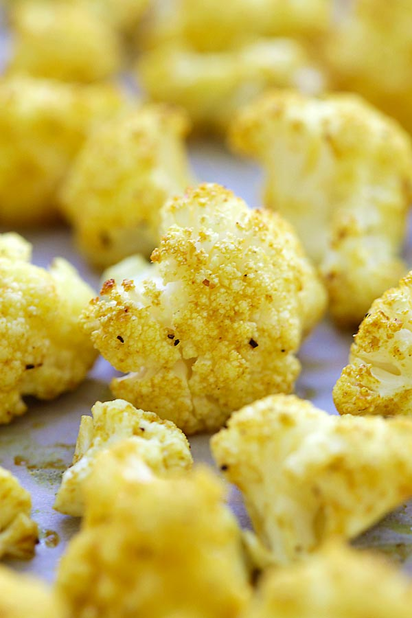 Close up homemade roasted curry cauliflower.