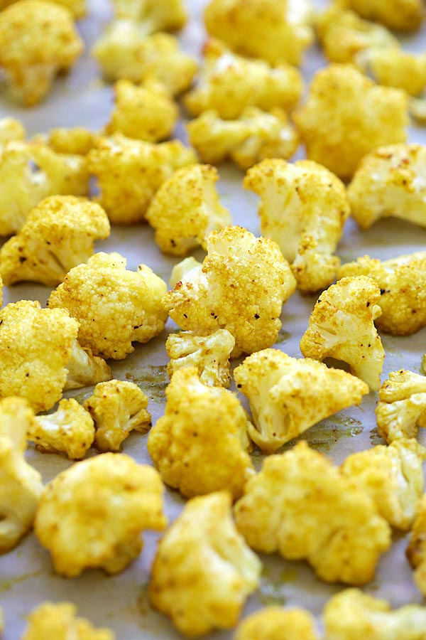 Healthy Oven Roasted Curry Cauliflower.