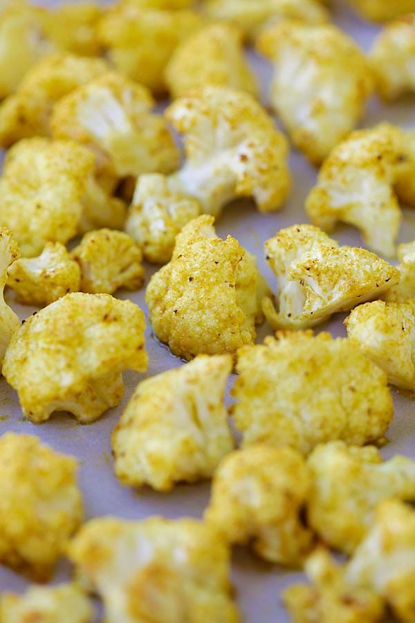 Roasted Curry Cauliflower with butter and curry powder.