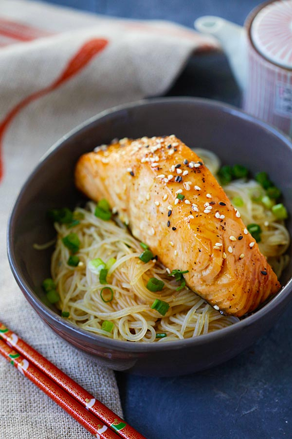 Salmon Teriyaki Noodles made with San-J Tamari soy sauce in a bowl.