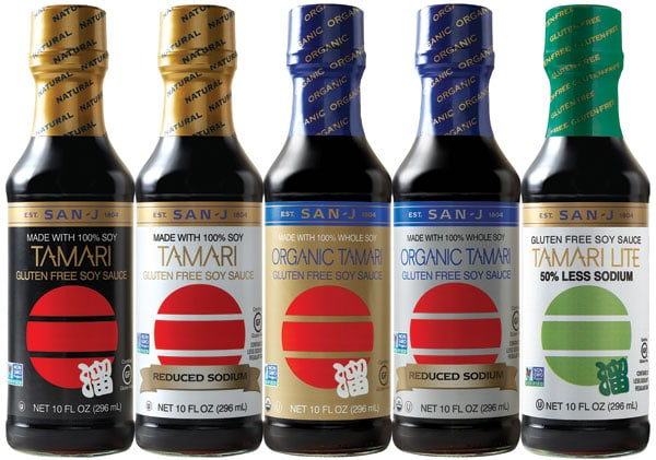 San-J Tamari sauces in bottles.