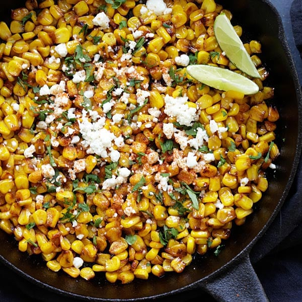 Skillet Chili Lime Corn - the best corn with chili, honey, lime and cheese. Takes 15 mins to make and a perfect side dish for any meals | rasamalaysia.com