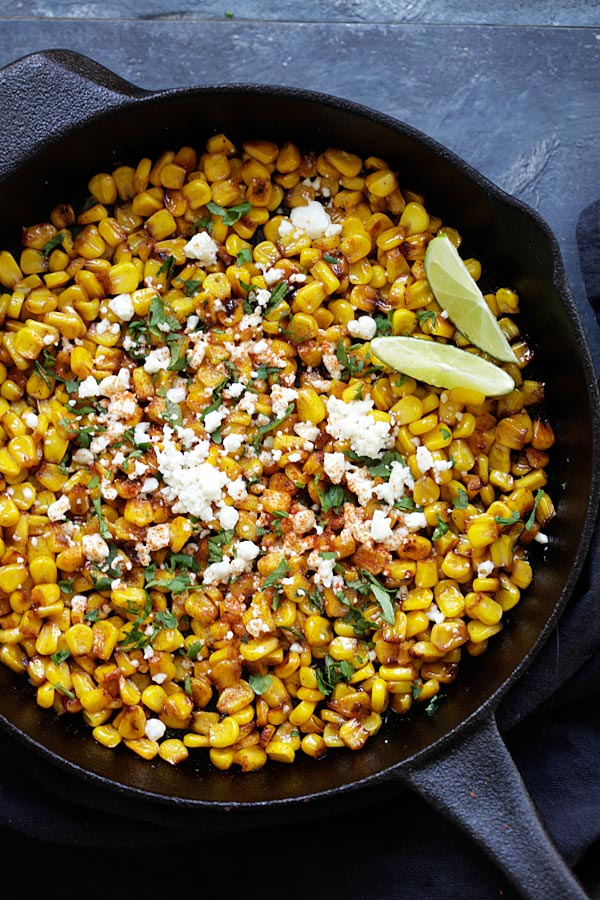 Skillet Chili Lime Corn with chili, honey, lime, and cheese.