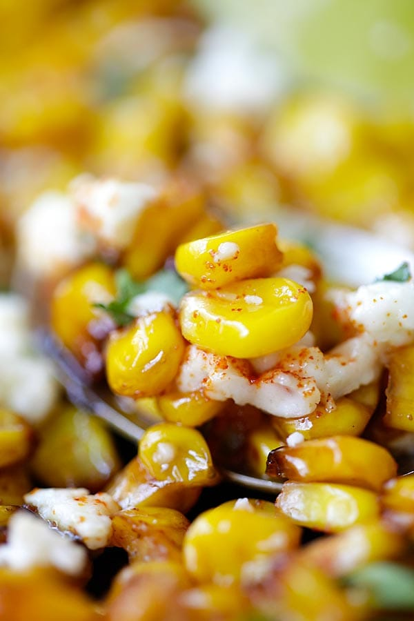 Easy and quick skillet Chili Lime Corn ready to serve.