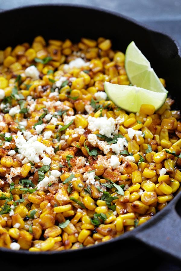 Homemade Mexican skillet Chili Lime Corn in a cast-iron skillet ready to serve.