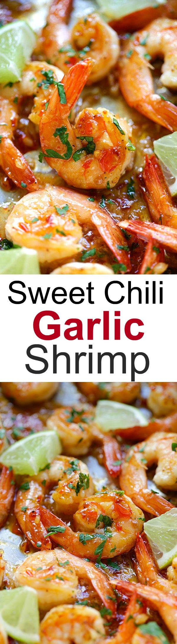 Sticky, sweet and savory chili shrimp with lime juice. This sweet chili shrimp recipe is so easy to make and takes 15 mins from start to finish | rasamalaysia.com