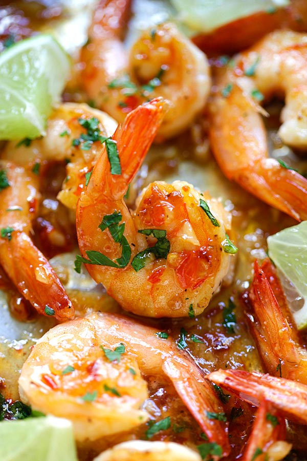 Shrimp with sweet chili sauce.
