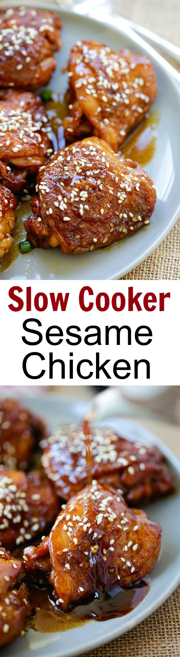 Slow Cooker Sesame Chicken – amazing chicken made with San-J Tamari and sesame sauce. Gluten-free and hearty meal for the family   rasamalaysia.com