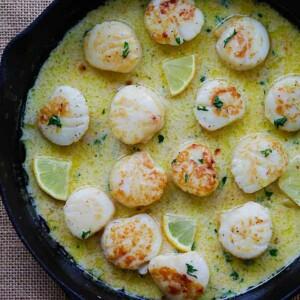 creamy garlic scallops