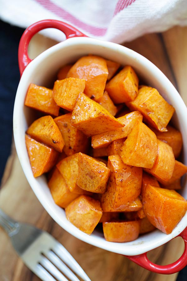 Healthy homemade honey Cinnamon Roasted Sweet Potatoes.