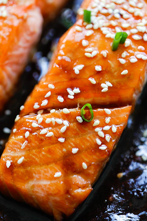 Honey Teriyaki Salmon - sticky sweet, savory salmon with honey teriyaki sauce. Cooks in a skillet or baked in oven. Dinner takes 10 mins | rasamalaysia.com