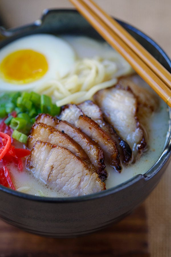 Char Siu Ramen - Amazing ramen topped with Chinese char siu roasted pork belly. Homemade ramen never tasted so good with Nissin RAOH ramen | rasamalaysia.com