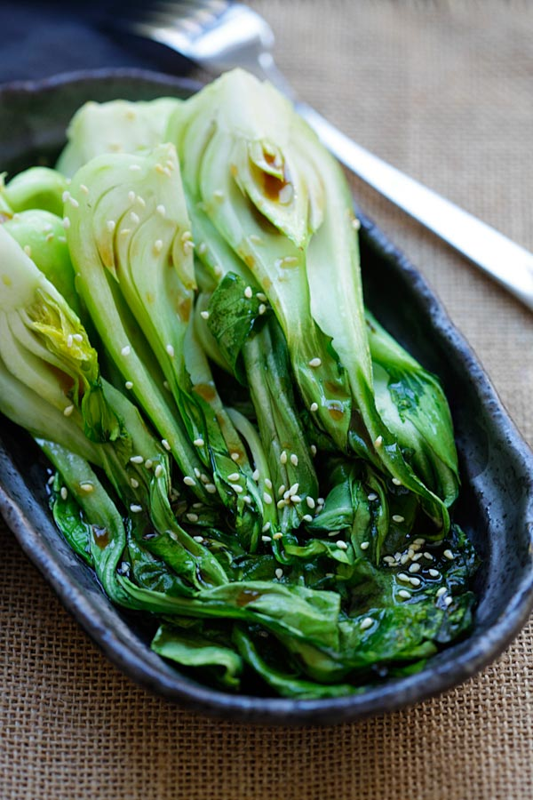Roasted Bok Choy - easiest vegetable recipe that takes only 10 mins. Healthy and delicious with a soy-sesame dressing, great for dinner | rasamalaysia.com