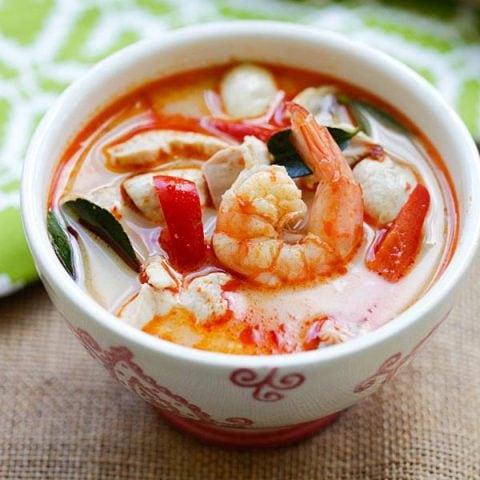Thai coconut chicken and shrimp soup