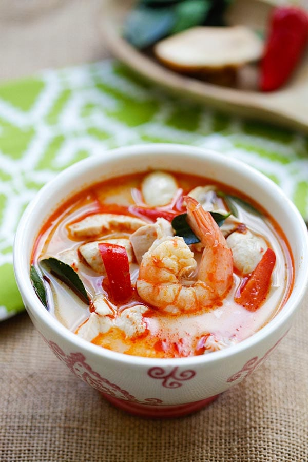 Thai Coconut Chicken and Shrimp Soup - the best soup you'll ever make in your kitchen. This Thai soup is to-die-for, better than Thai takeout | rasamalaysia.com
