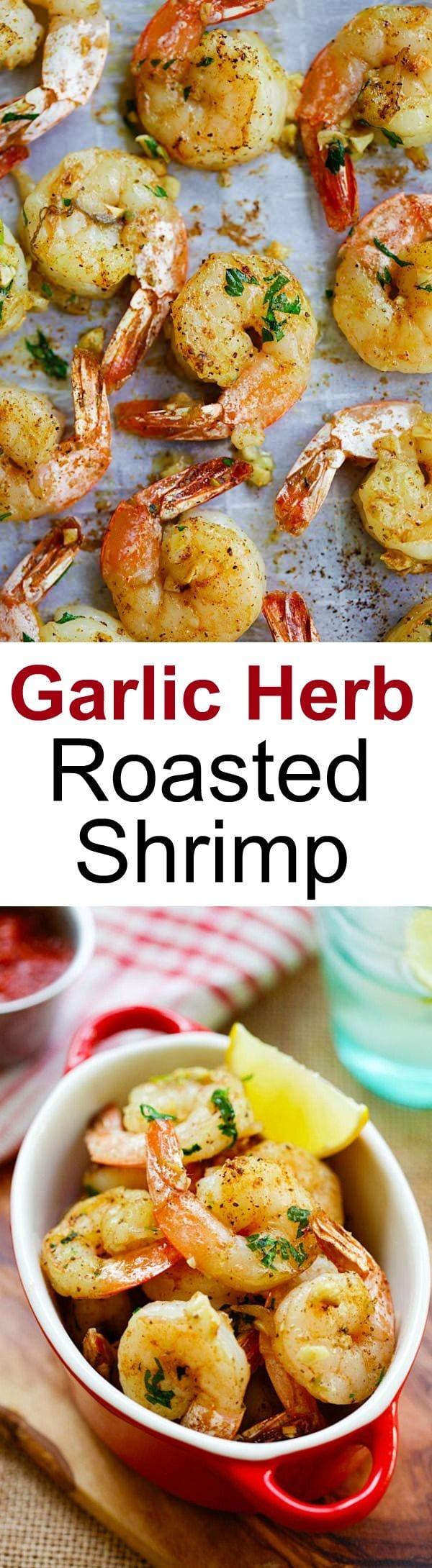 Garlic Herb Roasted Shrimp - easiest  and best roasted shrimp with butter, garlic, herb and serve with cocktail sauce. Takes 15 mins | rasamalaysia.com