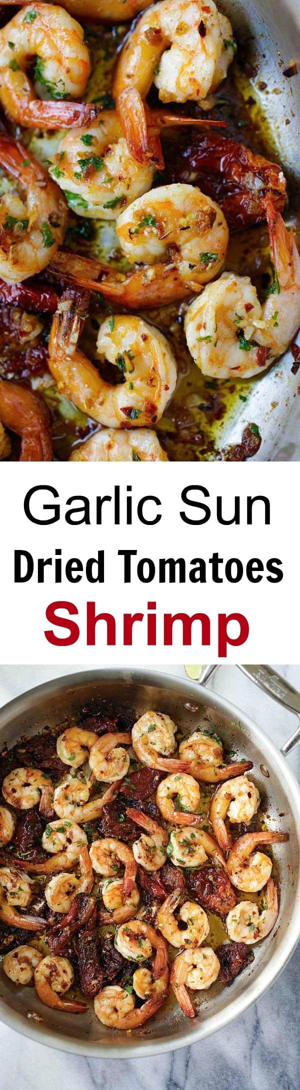 Garlic Sun-Dried Tomatoes Roasted Shrimp - Best garlic roasted shrimp recipe ever! Learn how to make this Spanish/Mediterranean dish | rasamalaysia.com