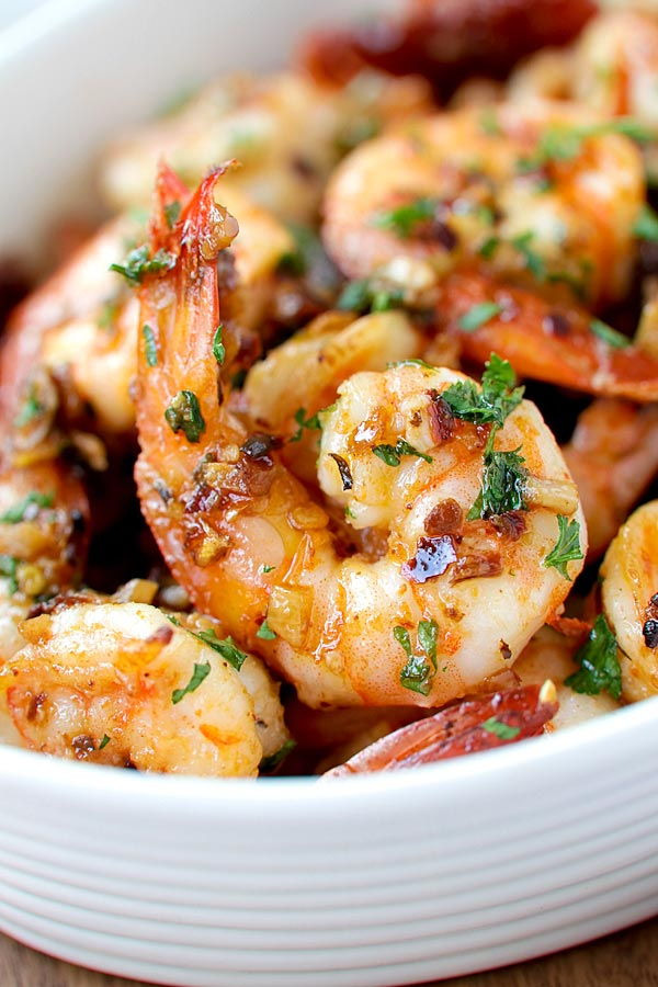 Mediterranean roasted shrimp with sun dried tomatoes.