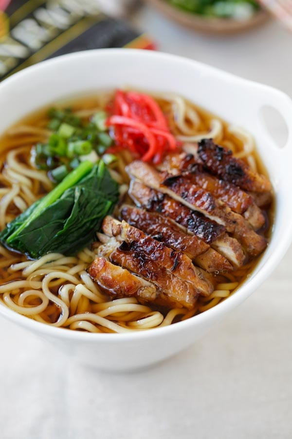 Close up quick and easy Lemongrass Chicken Soy Sauce Ramen in a bowl, ready to serve.