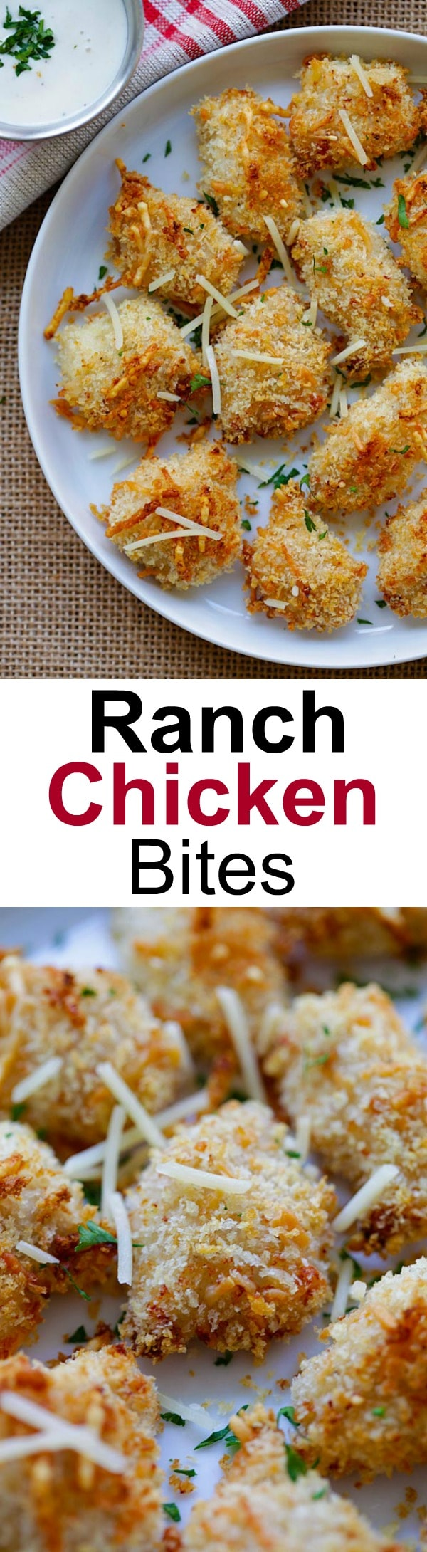 Ranch Chicken Bites – easy chicken nuggets recipe with ranch dressing, panko and Parmesan cheese. Homemade, crispy, moist and so good!   rasamalaysia.com