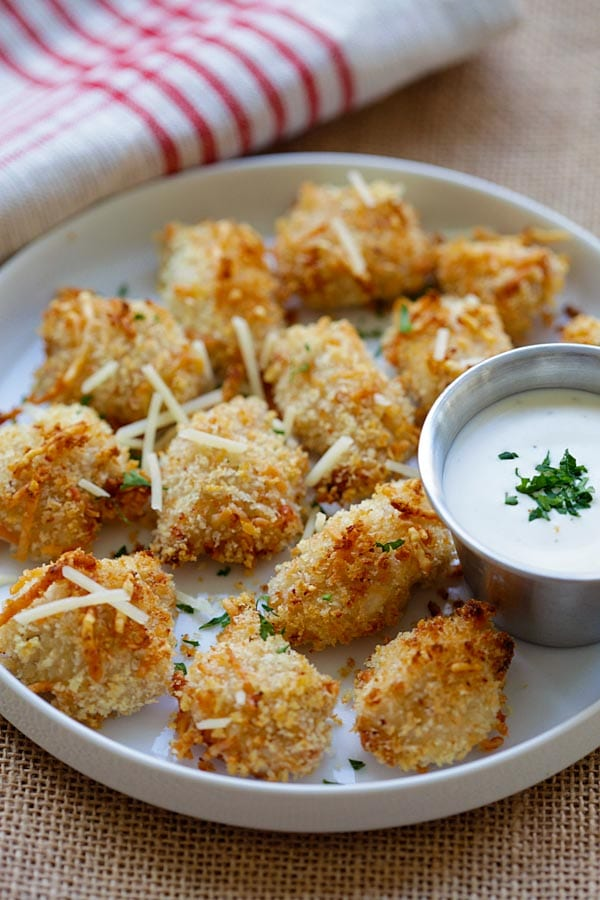 Easy delicious Ranch Chicken Bites served in a plate.