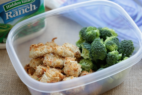 Ranch Chicken Bites in a lunch plastic ware with broccoli.