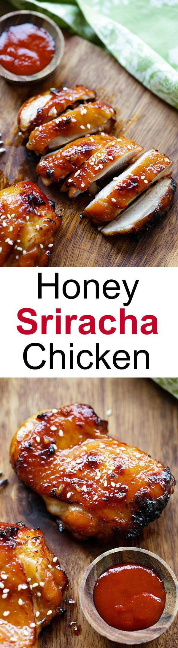 Honey Sriracha Chicken – crazy delicious chicken with honey sriracha marinade. Make it on a skillet, bake or grill for dinner tonight | rasamalaysia.com