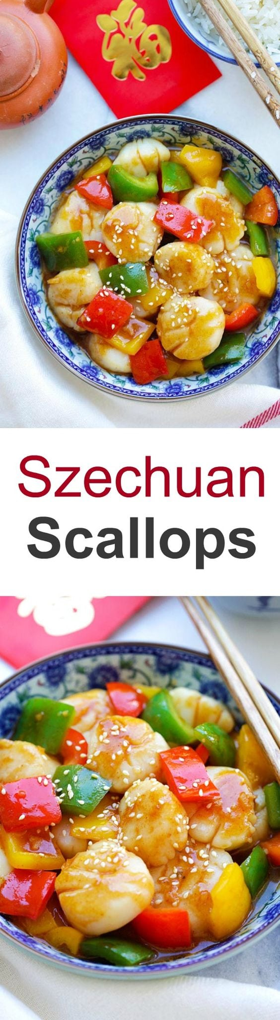Szechuan Scallops - juicy and succulent scallops stir fry with San-J Szechuan sauce. So good and best served with rice | rasamalaysia.com