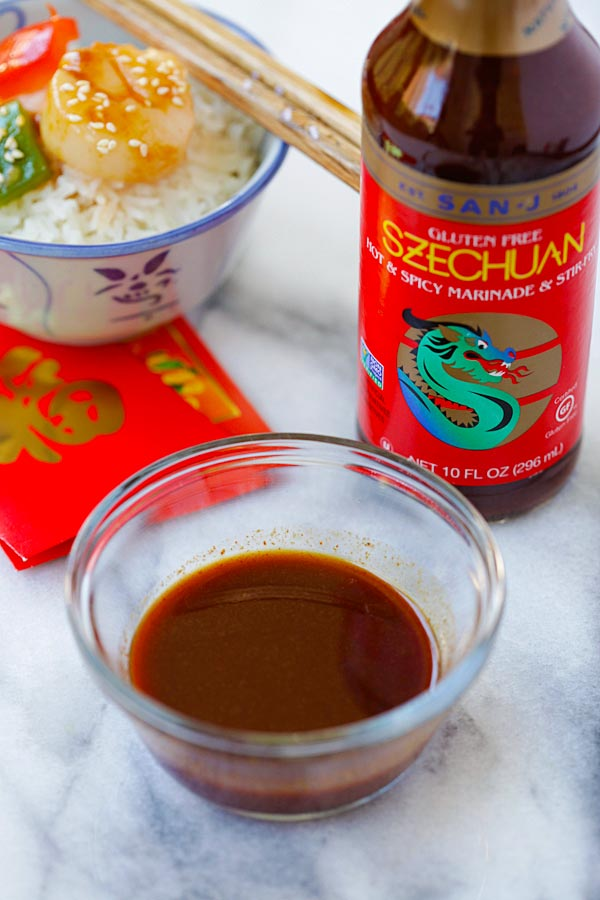 Szechuan Scallops brown sauce ingredients, made with San-J Szechuan sauce.