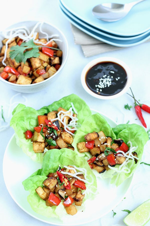 Vegan Lettuce Wraps - easy and low-carb lettuce wraps recipe with tofu ...