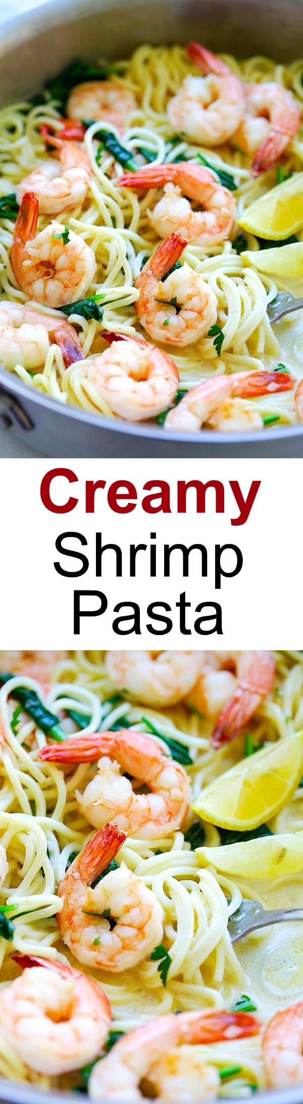 Creamy Shrimp Pasta – easy pasta recipe with shrimp, spaghetti in a buttery and creamy sauce. Cooked in one pot, dinner is ready in 20 mins | rasamalaysia.com